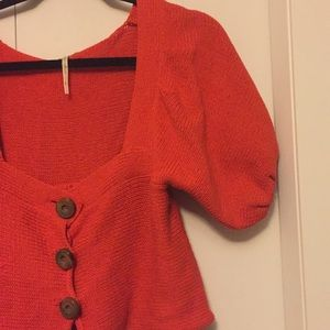 Free people cropped button up sweater 70's